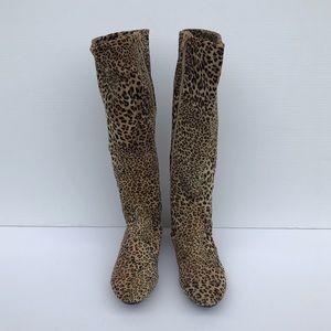 Shoes - Leopard Knee Length Boots